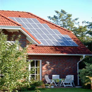 Property with solar panels on roof
